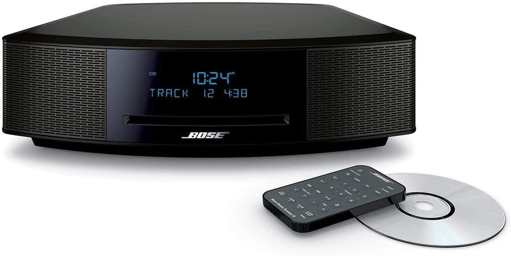 "Bose Wave Music System IV, CD/MP3 CD Player, Advanced AM/FM Tuner, Dual Alarm, Remote Control (Battery Pre-Installed), 2.4m AC Power Cable, 4.5"" Inches Tall, Espresso Black, Spmor HDMI Cable"