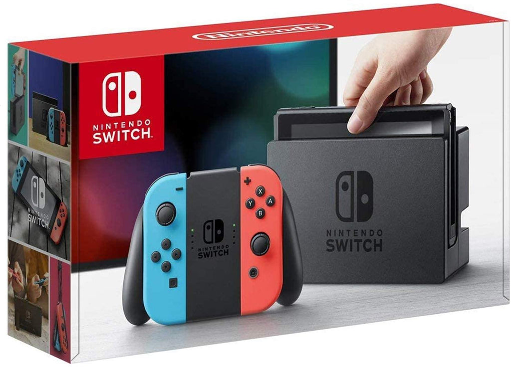 Newest Nintendo Switch Neon Blue and Neon Red - 802.11AC WiFi, Bluetooth 4.1 - Family Christmas Holiday Bundle - Blue and Red - PowerPCmall