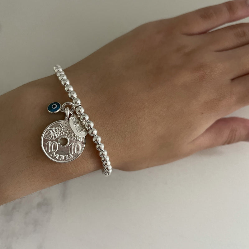 Greek lucky coin bracelet