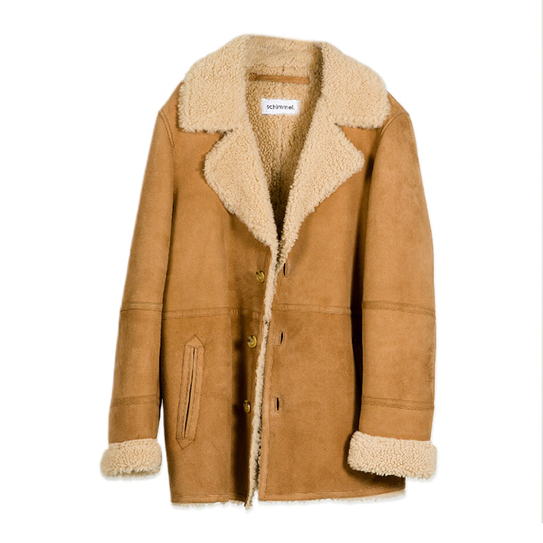 MANTEAU 37 CAMEL SHEEP LEATHER-SCHIMMEL-Maralex Paris