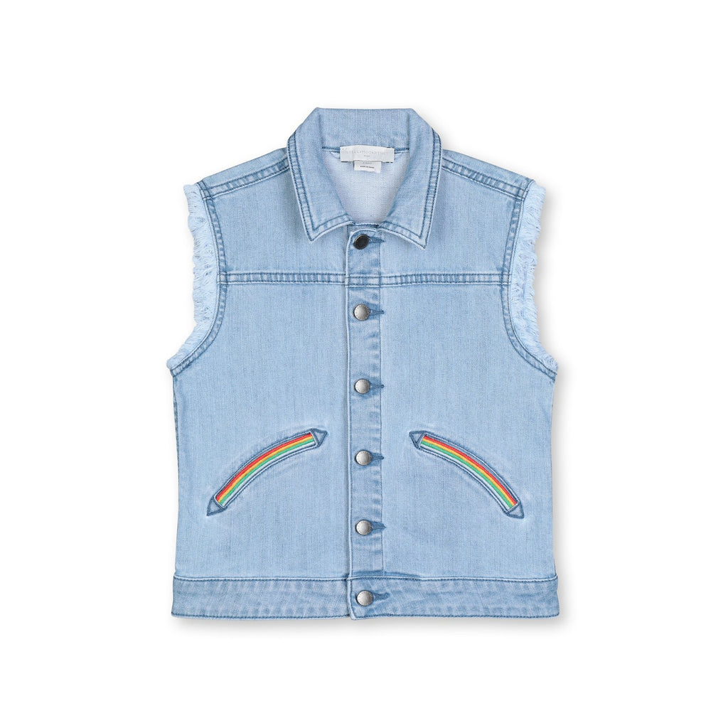 DENIM GILET WITH RAINBOW EMBO