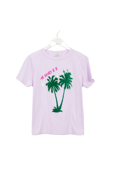 T-SHIRT GABY PALMS PRINT BLUSH-INDEE-Maralex Paris