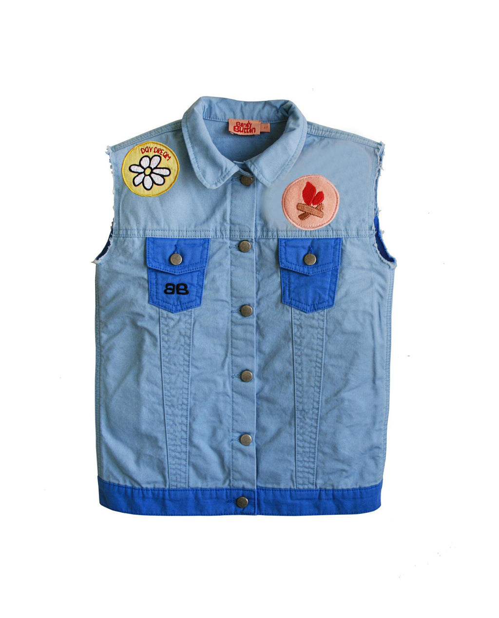 Vest en Jean Kurt-BANDY BUTTON-Maralex Paris
