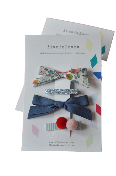 SET 4 BARRETTES AZUR-FIVE ELEVEN-Maralex Paris