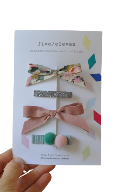 SET 4 BARRETTES MOSS-FIVE ELEVEN-Maralex Paris