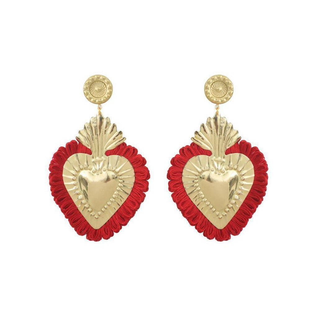 EARINGS GOLD HEART RED