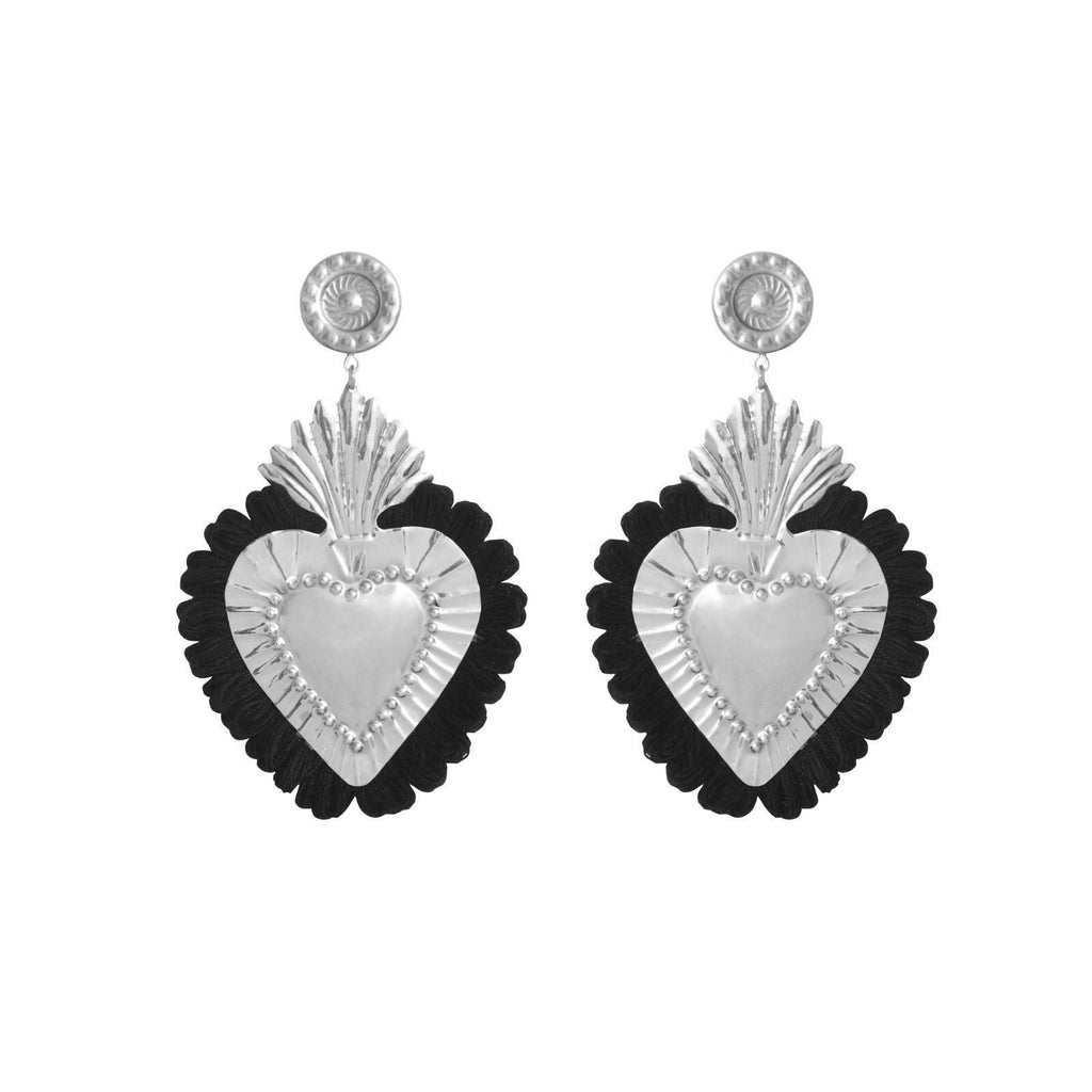 EARINGS SILVER HEART BLACK-LOVA BY VL-Maralex Paris