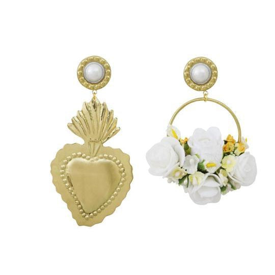 White Flowers Gold Heart (4587622694975)