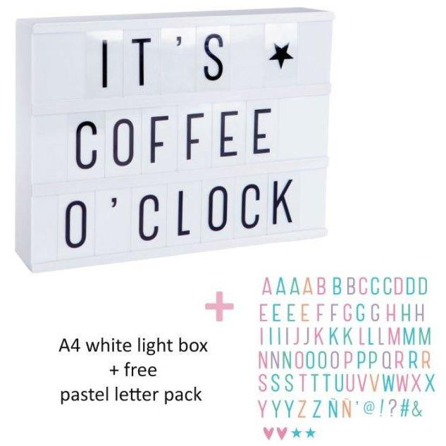Lightbox A4 White + Letterset Pastel + Chargeur-Fille-A LITTLE LOVELY COMPANY-Maralex Paris