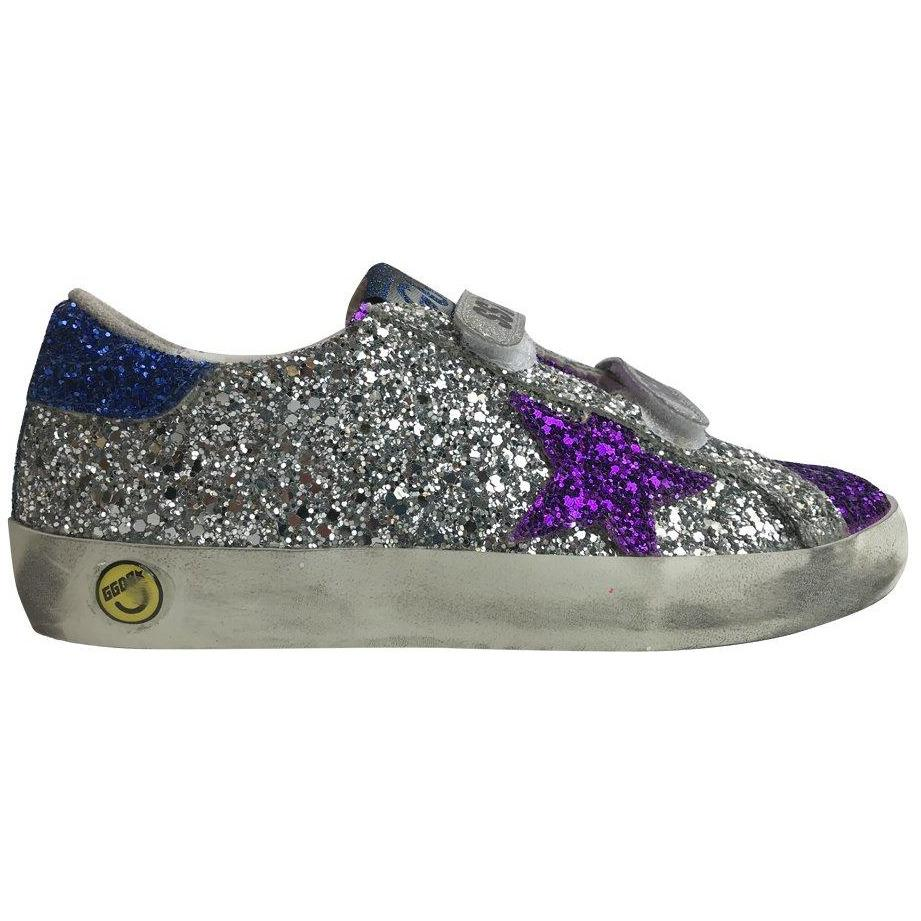 Old School Glitter Silver Sneakers 2-Fille-GOLDEN GOOSE-Maralex Paris
