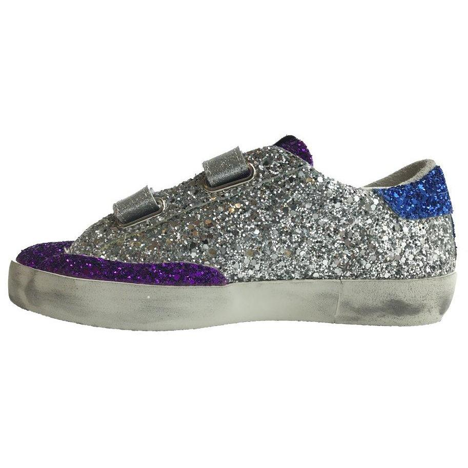 Old School Glitter Silver Sneakers-Bébé fille-GOLDEN GOOSE-Maralex Paris