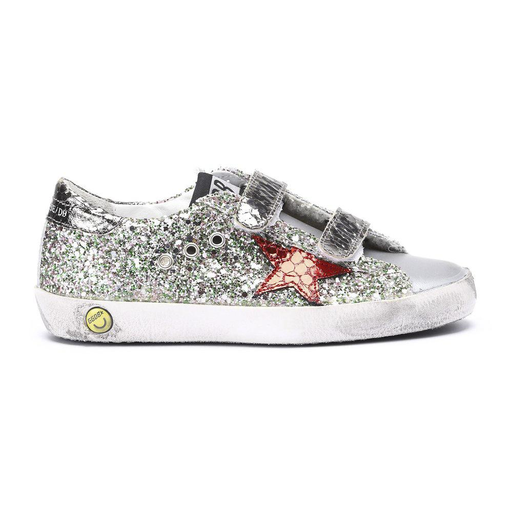 OLD SCHOOL GREEN PINK GLITTER-BASKETS & SNEAKERS-GOLDEN GOOSE-Maralex Paris