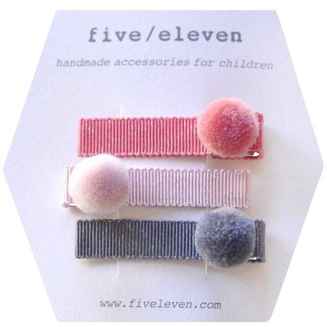 Set 3 barrettes a pompons-Fille-FIVE ELEVEN-Maralex Paris