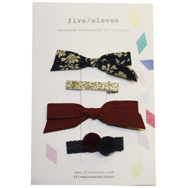 Set 4 Barrettes Couleurs Navy-Fille-FIVE ELEVEN-Maralex Paris
