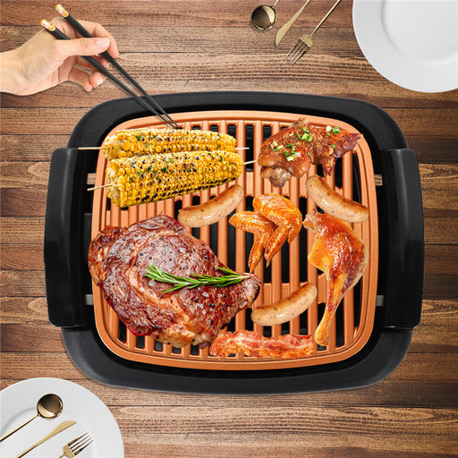 Smokeless Electric Roast BBQ Grill Indoor Grill Nonstick Pan & Portable Outdoor Barbecue Grill