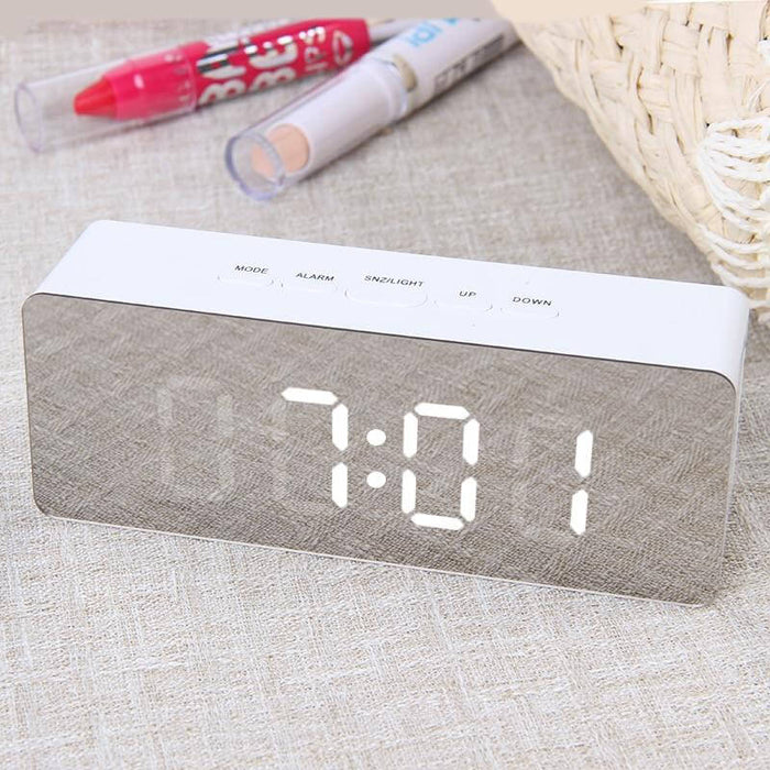 Mirrored LED Digital Alarm Clock