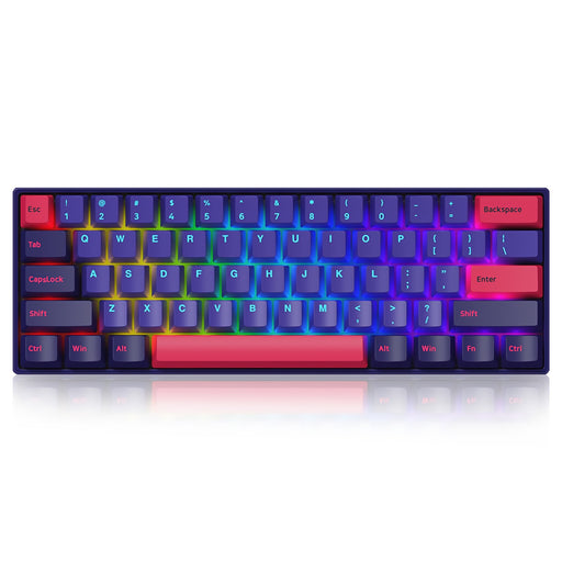 AKKO 3061 Neon 61 Keys Mechanical Keyboard Wireless Rechargable bluetooth5.0 Type-C Wired Dual Mode Gateron Switch PBT Keycap RGB Backlit Gaming Keyboard
