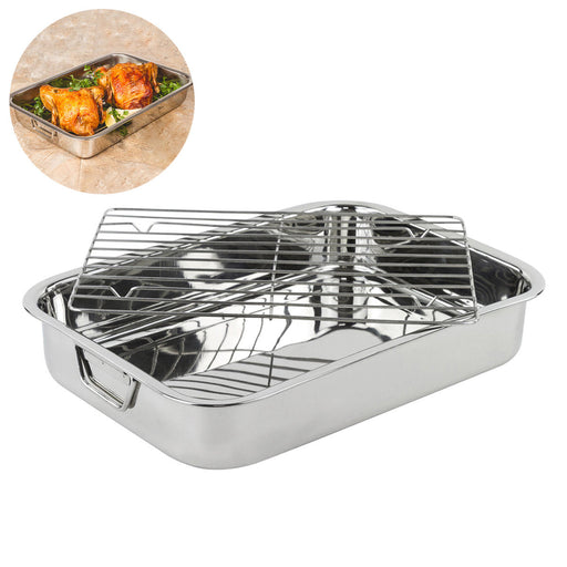 42*32*7cm Stainless Steel BBQ Grill Pan Chicken Roaster Cooking Tray Pan with Rack