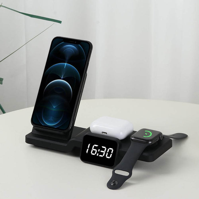 Bakeey 5 in 1 Wireless Charger Fast Charging Dock Station with Clock Time Display for iPhone 12 for AirPods iWatch 6