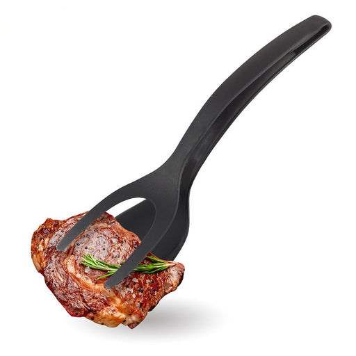 BBQ Tonga Non-Stick Fried Egg Turners Silicone Cooking Turner Kitchen Utensils Bread Tongs Multifunctional Cooking Tool Black And Red
