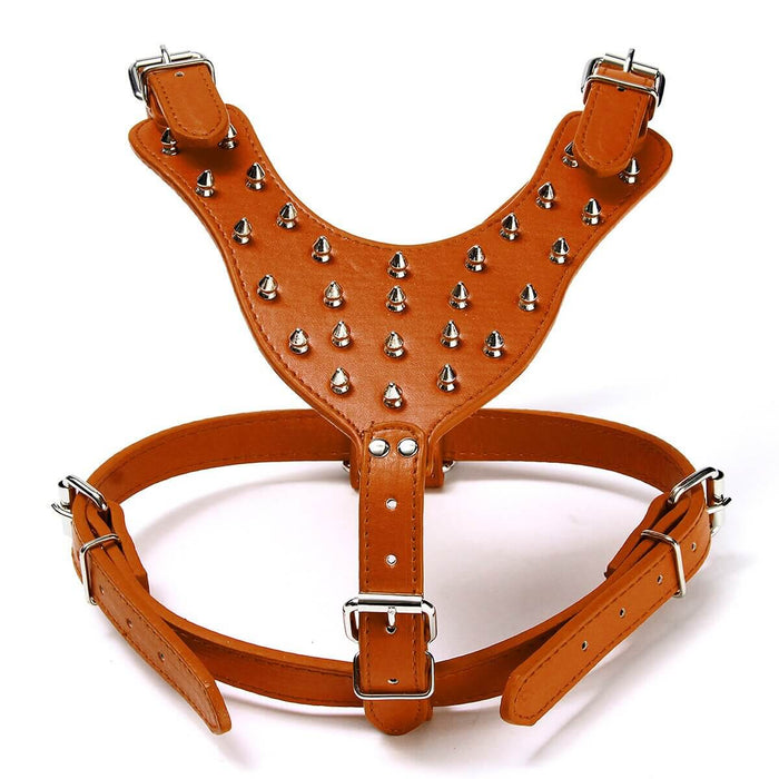 Leather Dog Harness Collar Leash Set Spiked Studded Staffy for Pet Security