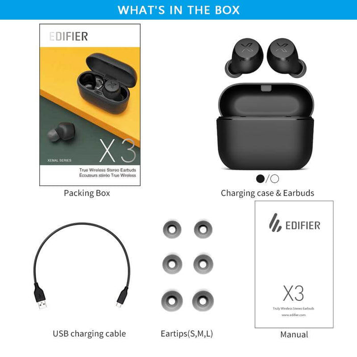 EDIFIER X3 TWS Music Earbuds bluetooth 5.0 QCC Chip Touch Control In-ear Earphone HiFi Sound Voice Assistant Headset