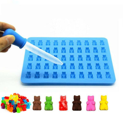 50 Cavity Silicone Gummy Bear Chocolate Mold Cake Jelly Candy Ice Tray Baking Tool