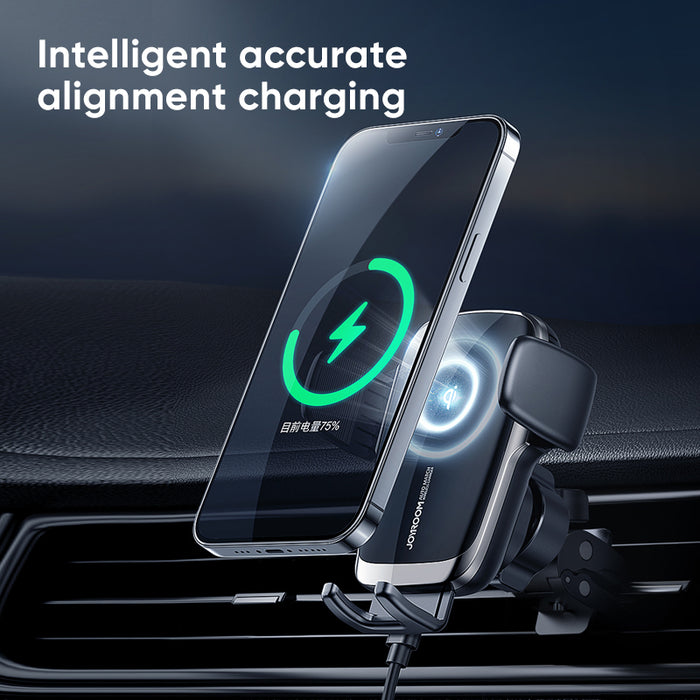 joyroom JR-ZS248 15W Qi Intelligent Accurate Alignment Charging Car Mount for Air Vent Mount / Dashboard Mount CD Slot Mount For iPhone for Samsung All Smartphone 4.5-6.7 Inch