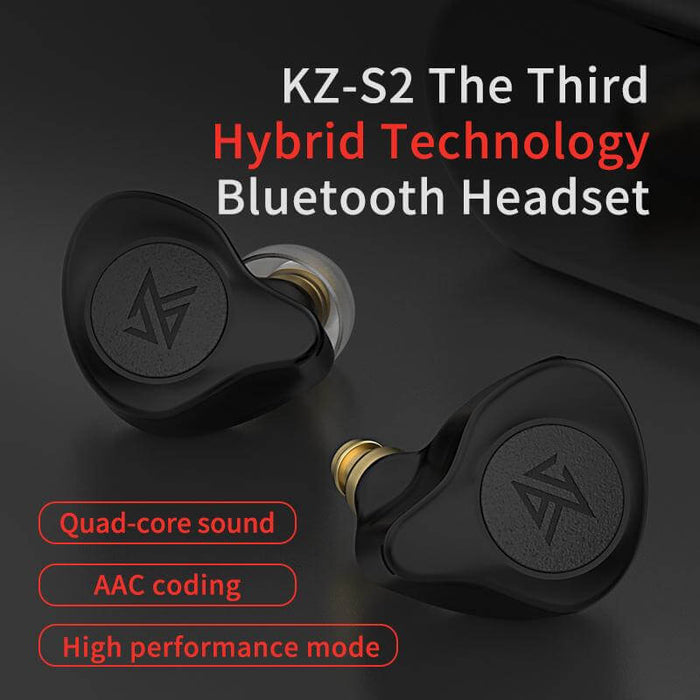 KZ S2 TWS Earbuds bluetooth 5.0 Earphone 1 Balanced Armature 1 Dynamic Dual Drivers HD Stereo Low Lateney Gaming Headphone with Mic