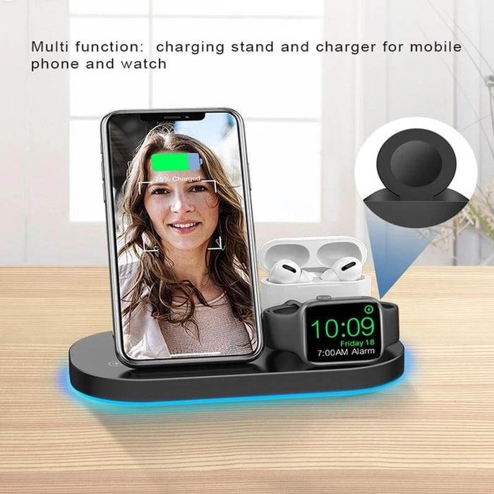 Bakeey 15W Wireless Charger Station USB-C Input LED Indicator Fast Charging Dock For iPhone 12 Pro Max Mini Huawei P40 Mate 40 Pro