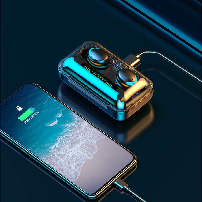 F9-5 TWS bluetooth 5.0 Three LED Power Display Earphone Waterproof Wireless Stereo Earbuds with Charging Box