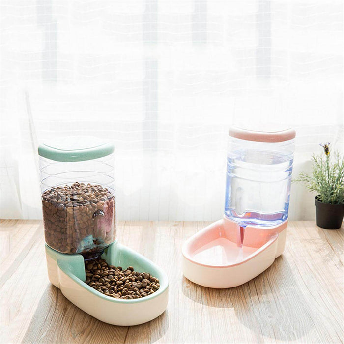 3.8L Automatic Pet Cat Feeder Waterer Food Dispenser Dog Cat Dish Bowl
