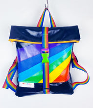Load image into Gallery viewer, mini rainbow rolltop rucksack