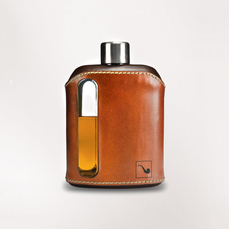 100ml DARK & TAN LEATHER GLASS FLASK BY RAGPROPER