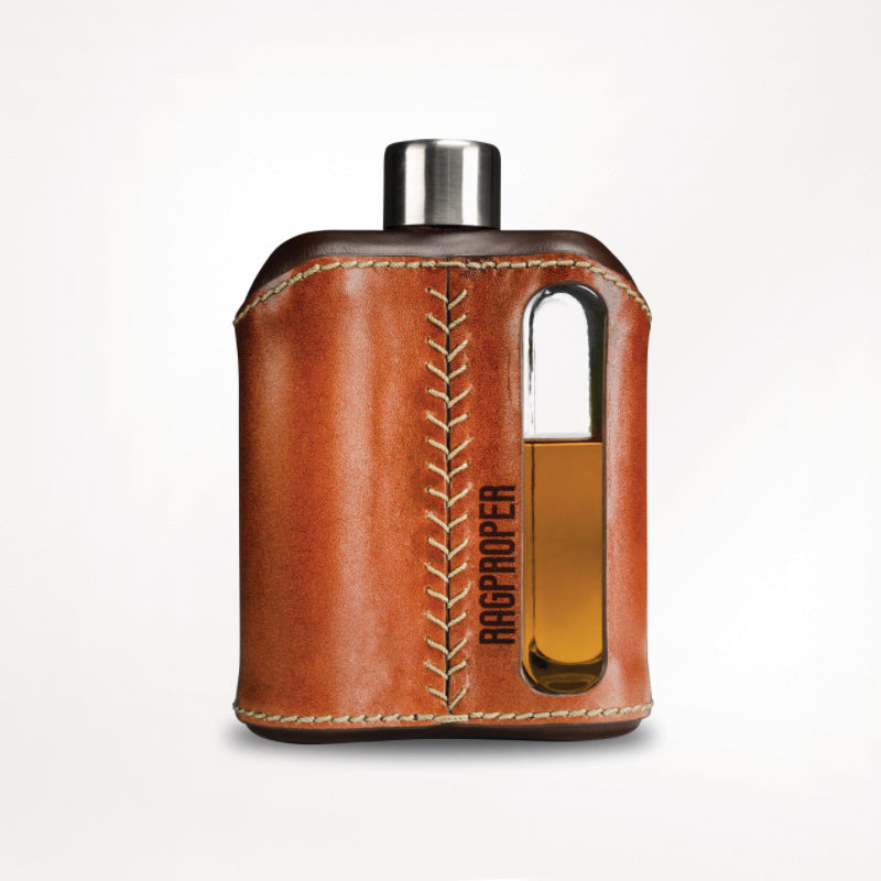 240ml DARK & TAN LEATHER GLASS FLASK BY RAGPROPER
