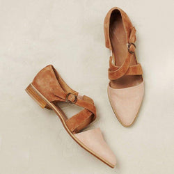 Women's Color Stitching Buckle   Point Flats