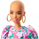 Barbie Fashionistas Doll #150 - With No Hair - Pink Floral Dress