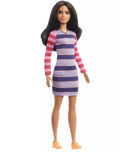 Barbie Fashionistas Doll - Purple & Pink Striped Dress