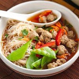 Spicy Asian Meatball Soup With Skinny Dip Noodles