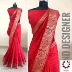 Red Sana Silk Party Saree With Woven Design