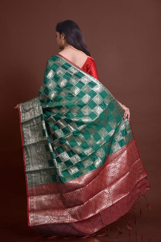 Green Soft Silk Saree With Silver Zari Weaves