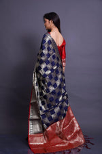 Navy Blue Soft Silk Saree With Silver Zari Weaves
