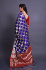 Blue Soft Silk Saree With Silver Zari Weaves