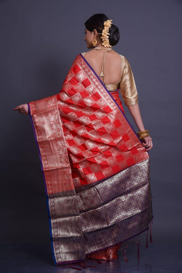 Red Soft Silk Saree With Silver Zari Weaves
