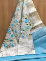 Grey With Blue Attractive Tissue Silk Party saree