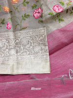 Grey With Pink Attractive Tissue Silk Party saree
