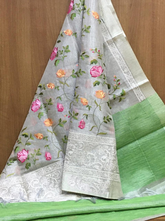Grey With Green Attractive Tissue Silk Party saree