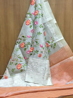 Grey With Peach Attractive Tissue Silk Party saree