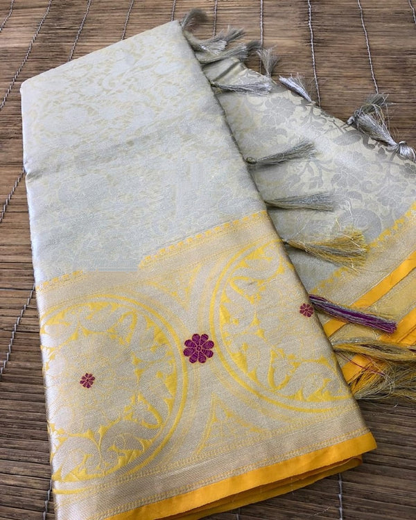 Grey Beautiful Kora muslin soft silk saree