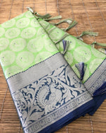 Green Beautiful Kora muslin soft silk saree